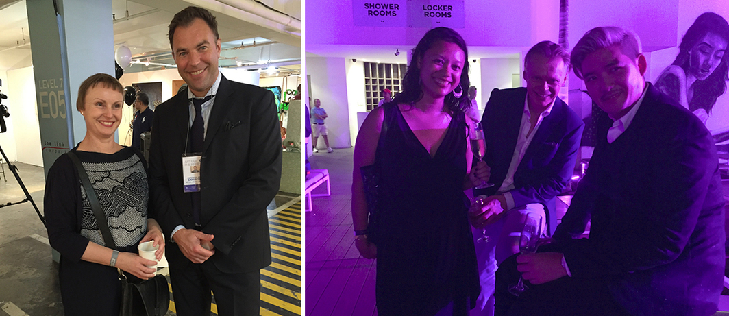 Left: National Gallery Australia curator Melanie Eastburn and dealer Matthias Arndt. Right: Art adviser Amelia Abdullahsani, dealer Michael Janssen, and TV host–nightclub owner Tim Yap at the Palace.