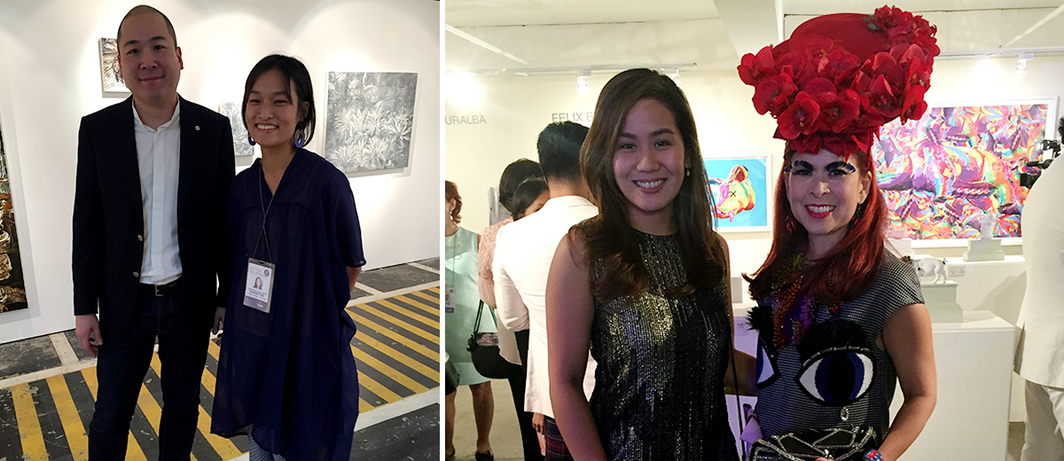 Left: Dealers Aenon Loo and Lorraine Malingue. Right: Globe platinum director Isabel Katrina S. del Carmen and socialite Tessa Prieto-Valdes.