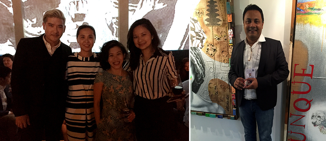 Left: TV host Tim Yap, Art Fair Philippines's Dindin Araneta, Singapore Art Museum curator Joyce Toh, and Fost Gallery's Stephanie Fong at Bank Bar. Right: Dealer Jasdeep Sandhu.