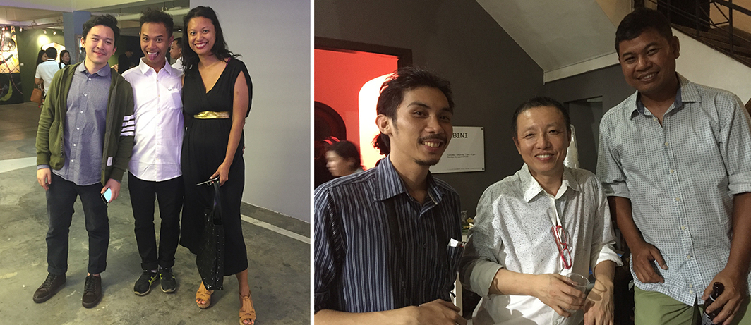 Left: Dealer Jun Tirtadji, artist Hahan, and art adviser Amelia Abdullahsani. Right: Artists Ian Carlo Jaucian, Hong Soun, and Manny Montelibano at 1335.