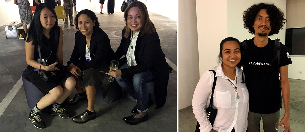 Left: Artist MM Yu and dealers Isa Lorenzo and Rachel Rillo. Right: Artists Nona Garcia and Poklong Anading at MCAD.
