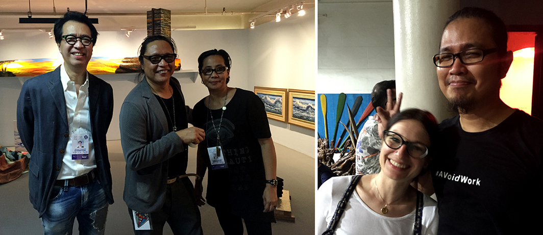 "Left: Dealer Cesar ""Jun"" Villalon and artists Alfredo and Isabel Aquilizan. Right: Dealer Birgit Zimmermann and artist Merv Espina."