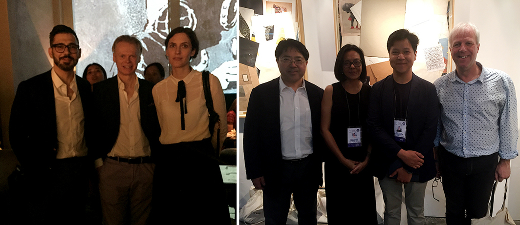 Left: Julius Baer's MD Christian Capplli, dealer Michael Janssen, and collection curator Barbara Staubli. Right: Dealer Tomio Koyama, artist Ringo Bunoan, Ruang Gerilya's Wibi Triardi, and critic John Batten.
