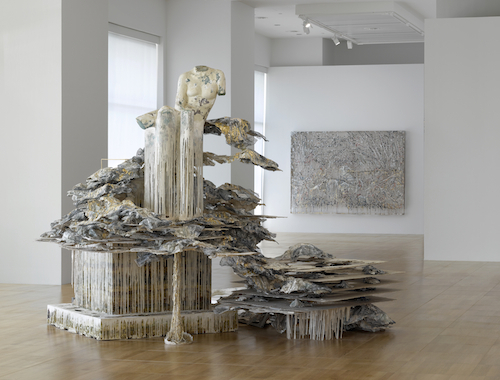 "View of ""Diana Al-Hadid: Phantom Limb,"" 2016. From left: Phantom Limb, 2014; Counter-Attack, 2016."