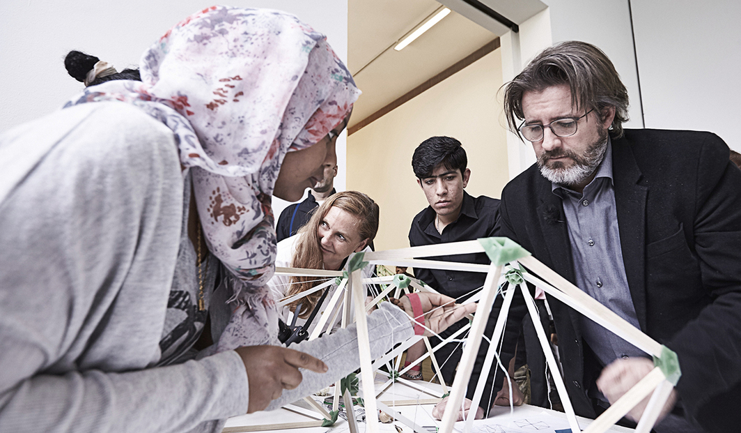 Francesca von Habsburg and Olafur Eliasson at the Green Light Project. (Photo: Sandro Zanzinger)