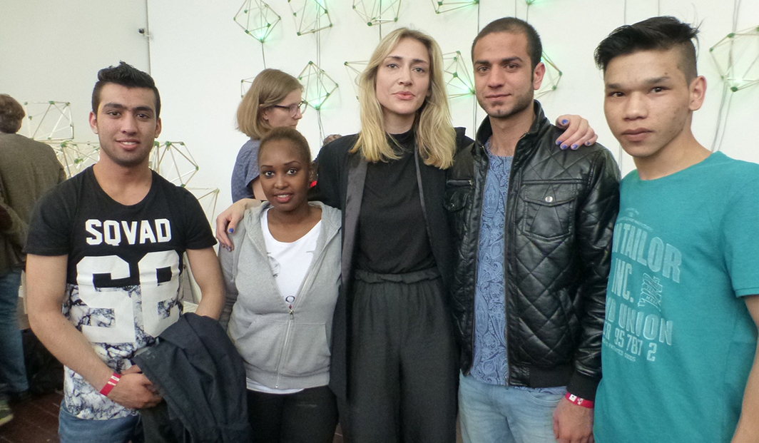 Green Light participants Milad Amiry, Liya Kasa, Majid, and Qasim Tahmasebi with TBA21 curator Franziska Wildförster. (Photo: Kate Sutton)
