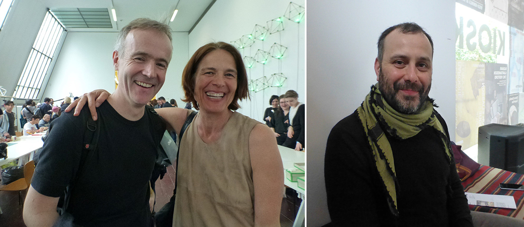 Left: SUPERFLEX's Rasmus Nielsen with TBA21 chief curator Daniela Zyman. Right: Artist Atif Akin. (Photos: Kate Sutton)