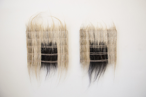 Catherine Fairbanks, Luce's Fireplace 10 and Luce's Fireplace 12, both 2014, horsehair weavings, dyed thread, linen, 27 x 18 1/2 x 1'' and 32 x 17 x 1''.