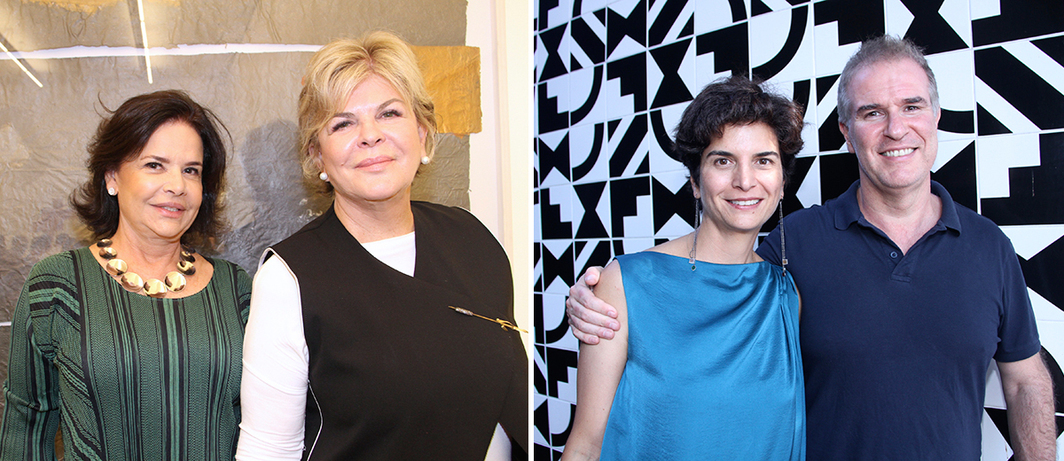 Left: Dealer Nara Roesler and collector Ella Cisneros-Fontanals. Right: SP-Arte director Fernanda Feitosa and Heitor Martins. (Photos: Denise Andrade)