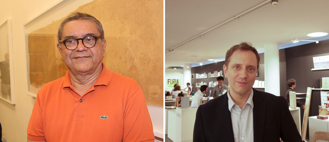 Left: Artist Emmanuel Nassar. (Photo: Denise Andrade) Right: Sao Paulo Bienal curator Jochen Volz. (Photo: Pedro Costa Barros)