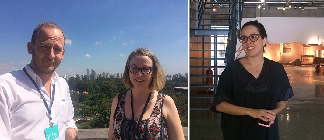 Left: Dealers Simon Preston and Paula Naughton. Right: Thereza Farkas of Videobrasil. (Photos: Alexandra Pechman)