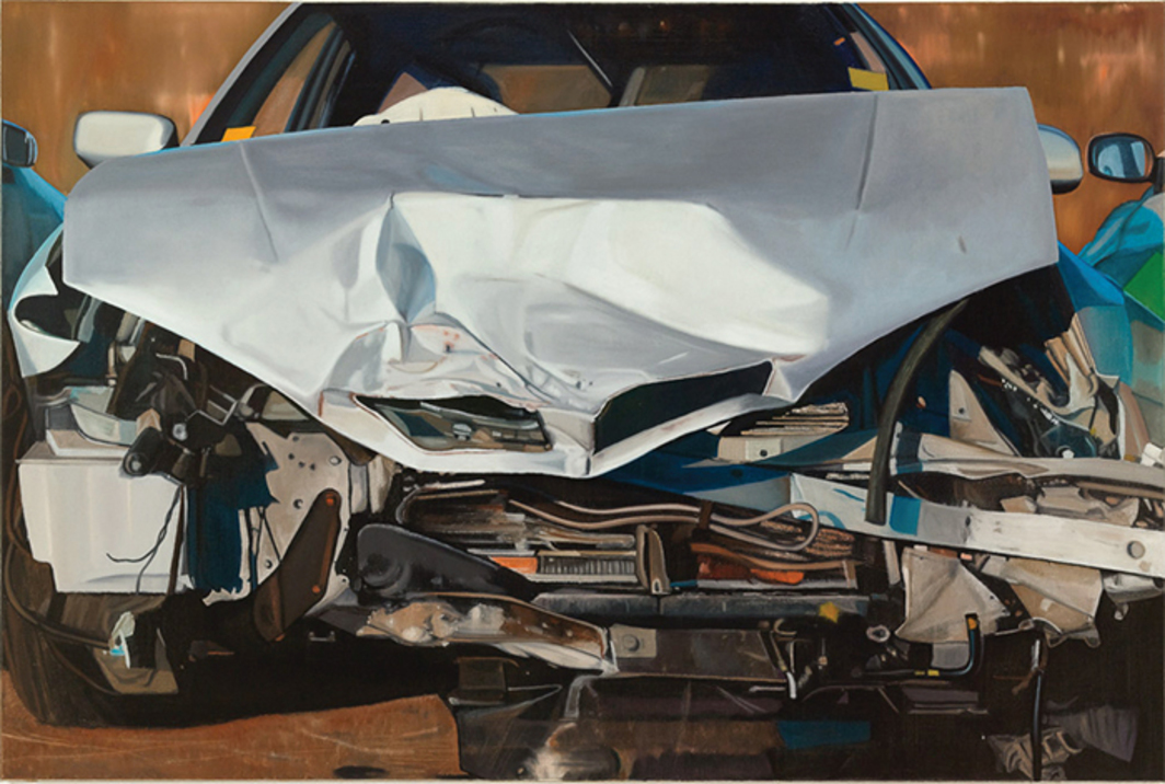 "Eberhard Havekost, Transformers, B14, 2014, oil on canvas, 47 1/4 × 70 7/8""."