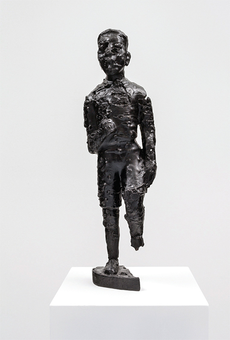 "Sanford Biggers, BAM (For Michael), 2016, bronze with black patina, plinth, 61 × 10 1/2 × 10 1/2"". From the series ""BAM,"" 2015–."