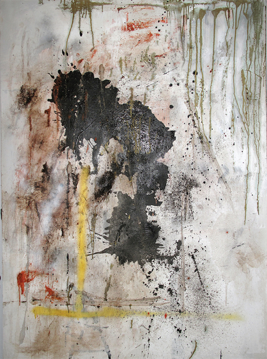 "Stephen Lapthisophon, Who Will Survive in America (GSH), 2014, latex, india ink, pencil, spray paint, coffee, beard clippings, pigmented bacon fat on canvas, 60 × 42""."