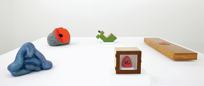 "View of ""Ken Price,"" 2016. From left: The Slouch, 2005; Rebuncular, 1988; Untitled (Geometric), 1980; Untitled (Red Mound), 1960–61; Untitled, 1967–69."