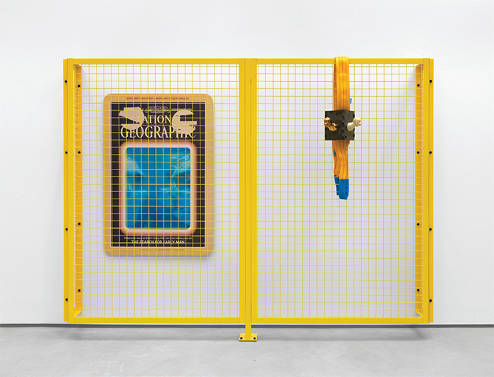"Steven Claydon, Bifurcated Development, 2016, powdercoated steel, flatbed print on plywood, resin, steel, gold-plated copper, Roman-bronze amulet, nylon sling, 76 3/4 × 99 1/2 × 44 1/8""."