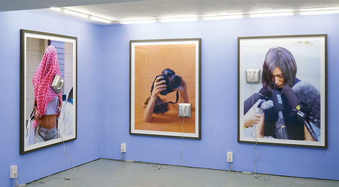 "View of ""DIS,"" 2016. From left: Becoming Genre, 2016; Serenity Now, 2016; Apology, 2016. Photo: Michael Heilgemeir."