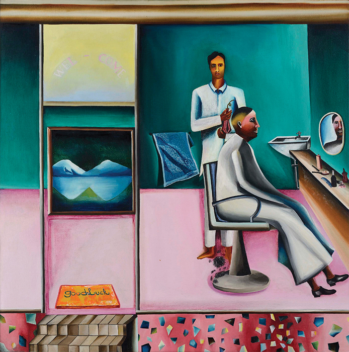 "Bhupen Khakhar, Barber's Shop, 1973, oil on canvas, 40 3/4 × 40 3/4"". © Estate of Bhupen Khakhar/Kanwaldeep and Devinder Sahney."