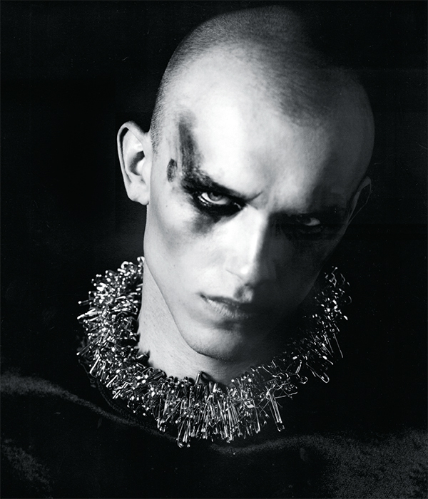 Model wearing Judy Blame's Safety Pin Necklace, 2010. From i-D, 2010. Photo: William Baker