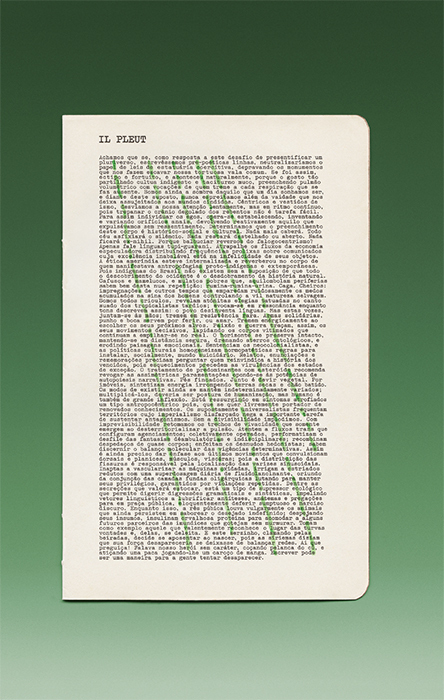 "Natalie Czech, Il pleut by Amilcar Packer (It Rains by Amilcar Packer), 2014, acrylic on C-print, 33 1/2 × 20 7/8"". From the series ""Il pleut by Guillaume Apollinaire"" (It Rains by Guillaume Apollinaire), 2012–14."