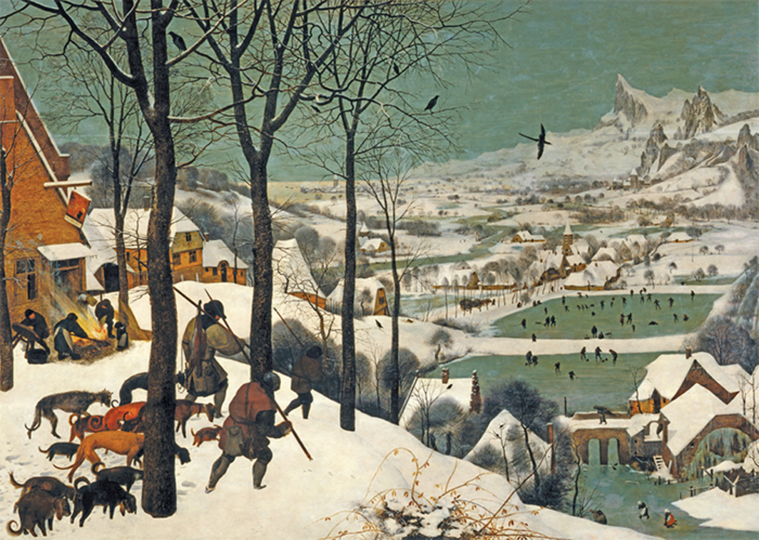 "*Pieter Brueghel the Elder, _Hunters in the Snow_, 1565*, oil on wood, 46 × 63 3/4""."