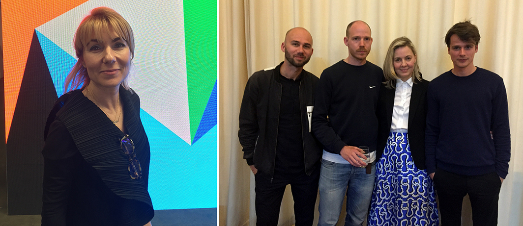 Left: Art Brussels artistic director Katerina Gregos. Right: Dealer and Independent cofounder Elizabeth Dee (middle) with artist collective Leo Gabin (from left to right: Lieven Deconinck, Gaëtan Begerem, and Robin De Vooght). (All photos: Julian Elias Bronner)