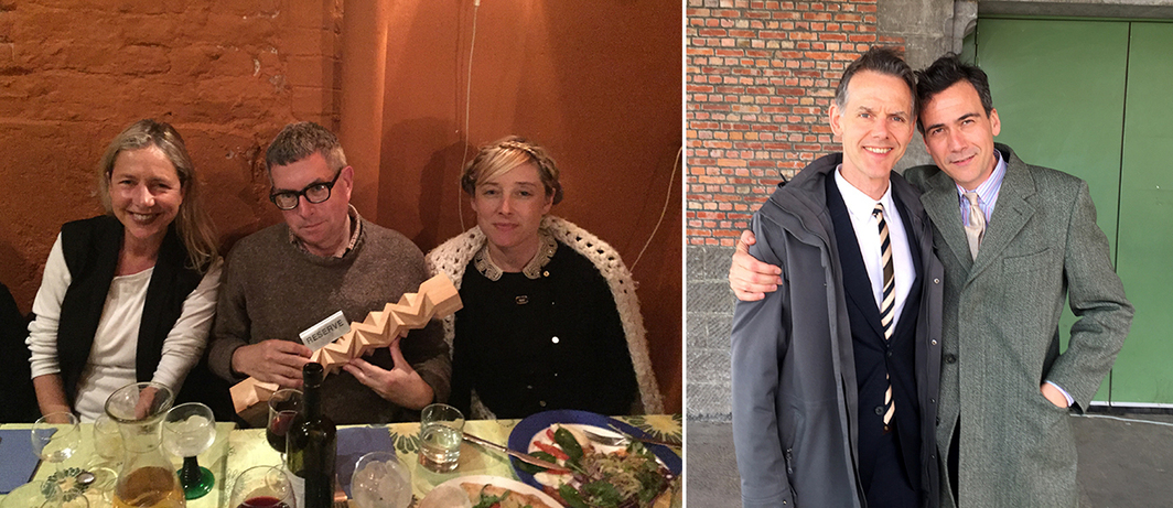 Left: Whitechapel Gallery director Iwona Blazwick with artists Mark Dion and Dana Sherwood. Right: Curators Marc-Olivier Wahler and Andrea Bellini.