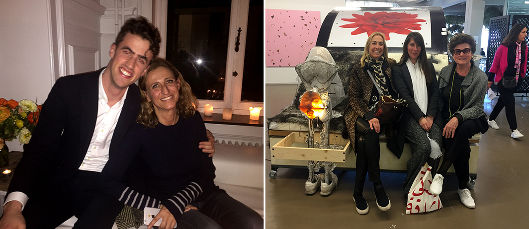 Left: Dealers Thor Shannon of Gavin Brown's Enterprise and Francesca Kaufmann of Kauffmann Repetto. Right: Frances Fuchs-Young, artist Ann Grimm, and dealer Chantal Crousel.