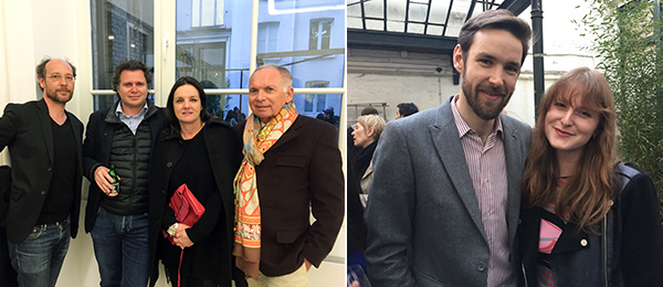 Left: Advisor Grégory Lang, dealers Avi and Valerie Palacios Keitelman, and collector Bob Crémant. Right: Codirector of Independent Brussels Olivier Pesret and associate director of Independent New York Alix Dana.