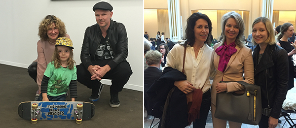 Left: Analix Forever's Barbara Polla, Zeno Gladwell, and artist Shaun Gladwell. Right: Artist Judith Eisler with dealers Sarah Gavlak and Lauren Wood.