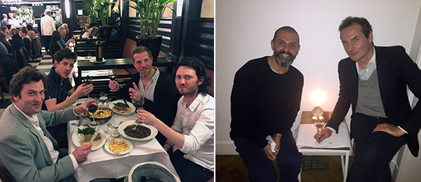 Left: Art handler Frédéric Schmiliver with artists Pierre-Pol Lecouturier, Benjamin Hugard, and Sean Crossley. Right: Artist Ugo Rondinone and dépendance's Michael Callies.