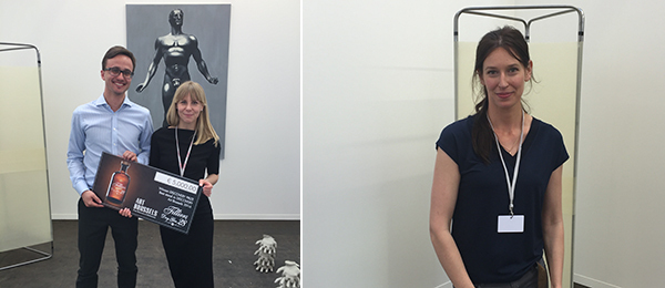 Left: Dealers Michaił Suchora and Justyna Kowalska of BWA Warszawa gallery, winner of the Discover Prize, supported by Filliers. Right: Artist Ewa Axelrad.