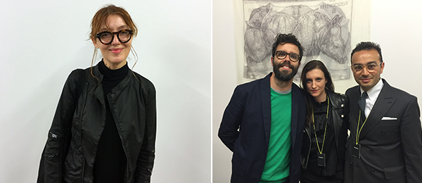 Left: Artist Elena Bajo. Right:  artist Luca Trevisani with dealers Alexandra Alexopoulou and Mehdi Chouakri.