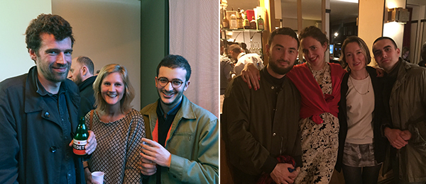 Left: Artist Harold Ancart, attorney Olivia Battard, and C L E A R I N G's Marwann Frikach. Right: Artist Simon Fujiwara and curator Julie Boukobza with dealer Sandy Brown and artist Alex Turgeon.