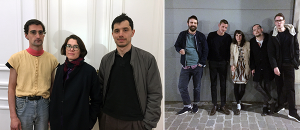 Left: Author and curator Alberto García del Castillo with artists Claire Noonan and Stefano Faro. Right: Artists Mikael Brkic, Lukas Müller, Marina Pinsky, Becket Flannery, and Thomas Koster.