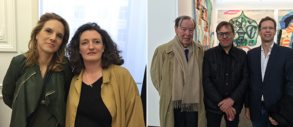 Left: Collector Nathalie Guiot and artist Erin Lawlor. Right: Collector Michel Dutilleul-Francoeur, artist Wim Delvoye, and collector Philippe Dutilleul-Francoeur.