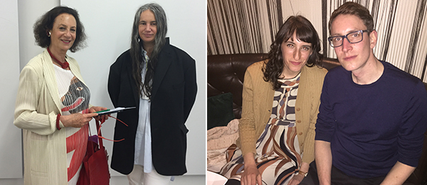 Left: Collector Galila Barzilai-Hollander and dealer Isabella Bortolozzi. Right: Artists Marina Pinsky and Tomas Köster.