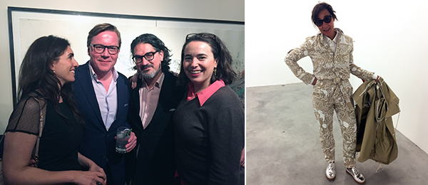 Left: Collectors Mariam and Jan-Holger Arndt with Esther Schulte and Sacha Sayrally. Right: Curator Natalie Kovacs.