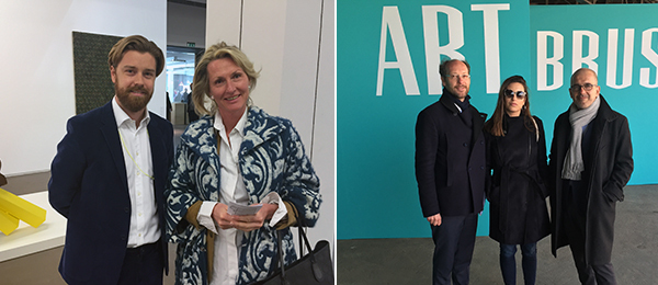Left: David Zwirner London associate director James Greene and collector Susanne van Hagen. Right: Curator Grégory Lang with curator at upcoming Museum of Art, Architecture, and Technology (MAAT) in Lisbon Ines Grosso and MAAT's chief curator and director, Pedro Gadanho.