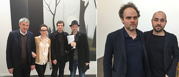 Left: Dealers Philippe Jousse and Vigourous of Jousse Enterprise with artists Benoît Broisat and Gilles Balmet. Right: KOW's Nikolaus and Raphael Oberhuber.