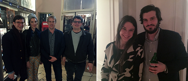 Left: Office Baroque's Louis-Philippe van Eeckhoutte with artists Sadie Laska, Tyson Reeder, and Roland Quetsch. Right: Taylor Trabulus of Gavin Brown's Enterprise and Pact Gallery's Pierre-Arnaud Doucède.