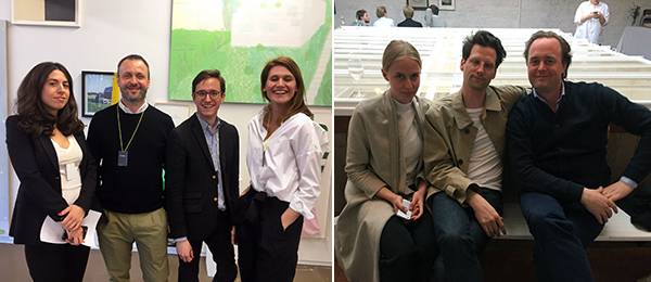 Left: Office Baroque's Sarah Suco Torres, Wim Peeters, Louis-Philippe Van Eeckhoutte, and Marie Denkens. Right: Kunst-Werke Institute curator Maurin Dietrich, Spike Magazine editor Timo Feldhaus, and dealer Daniel Wichelhaus of Société.