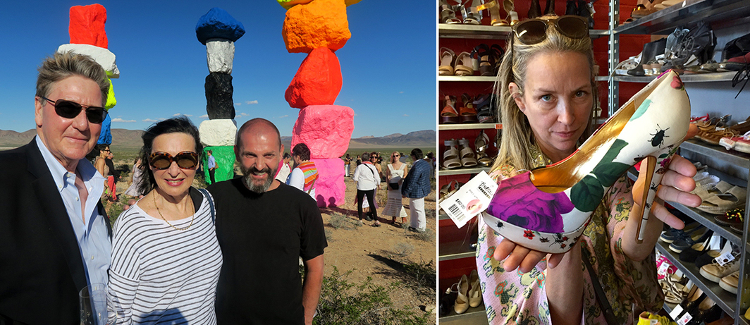 Left: Nevada Museum of Art trustee Bill Prezant, dealer Barbara Gladstone, and artist Ugo Rondinone. Right: Artist Jessica Craig-Martin. (Except where noted, all photos: Linda Yablonsky)
