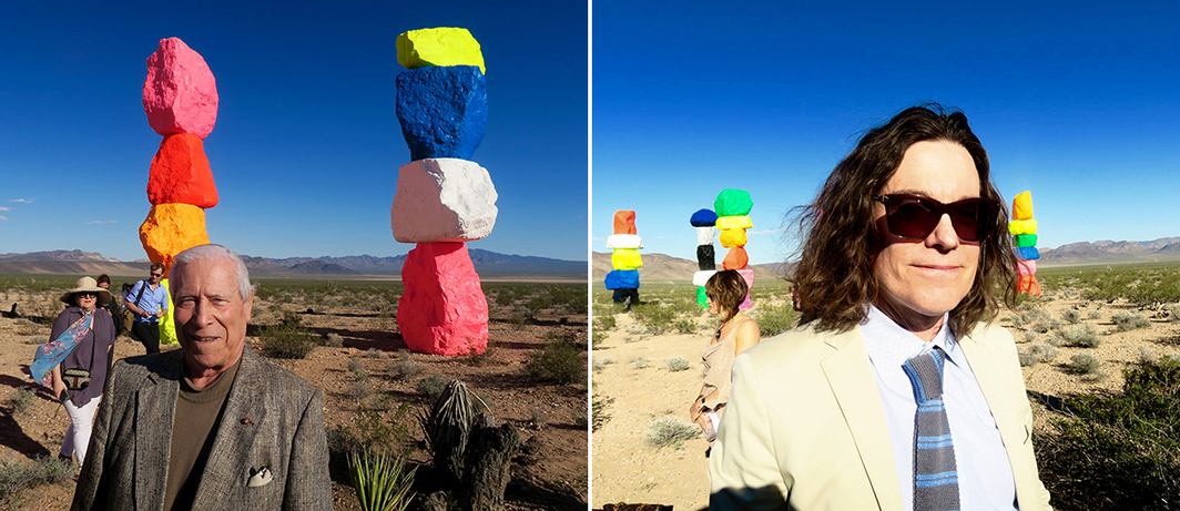 Left: Land art site locator and Seven Magic Mountains project manager Count Guido Roberto Diero. Right: Nevada Museum of Art director and CEO David Walker.