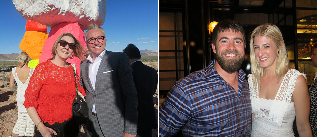 Left: Collectors Shelly Fremont and Robert Lococo. Right: Las Vegas Paving Corporation project manager Danny Fitzgerald and APF director Casey Fremont.