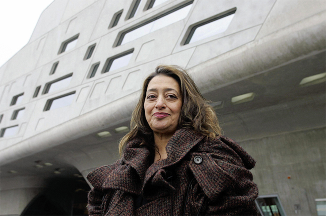 Zaha Hadid in front of her Phaeno Science Center, 2005, Wolfsburg, Germany, November 23, 2005. Photo: Jochen Luebke/AFP/Getty Images.