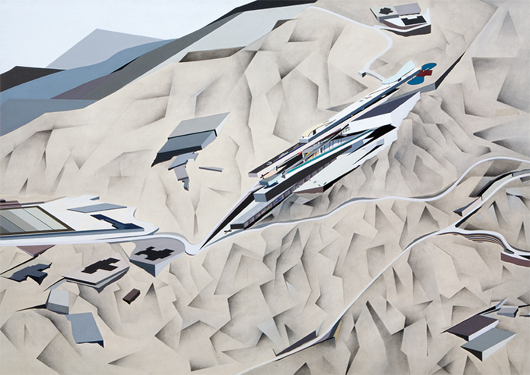 "Zaha Hadid, Overall Isometric—Day View, 1983, acrylic on paper, 52 × 72 1/2"". © Zaha Hadid Architects."