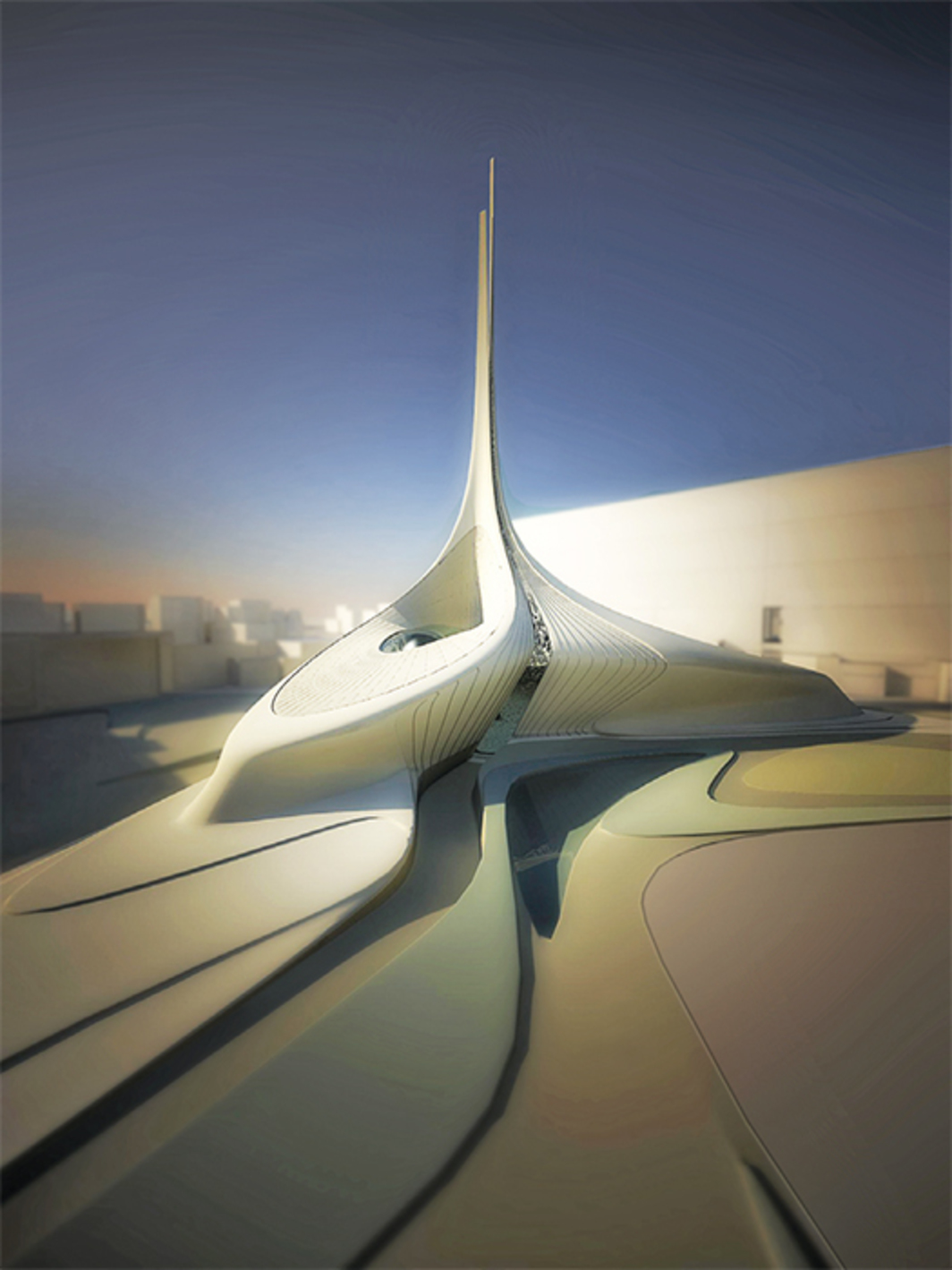 Zaha Hadid Architects, Avenues Mall Mosque, 2009, Kuwait. Rendering. © Zaha Hadid Architects.