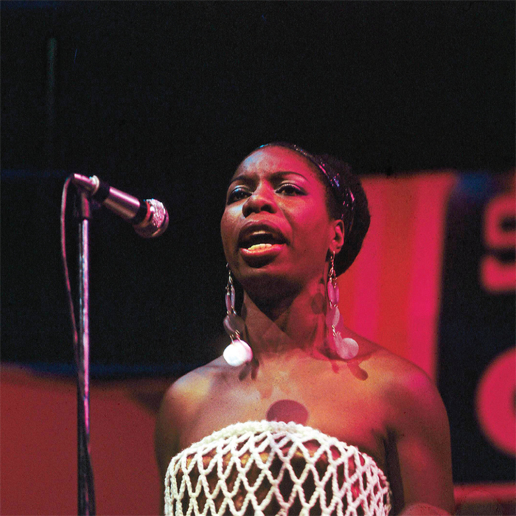 Nina Simone performing at the Newport Jazz Festival, RI, July 4, 1968. Photo: David Redfern/ Getty Images.
