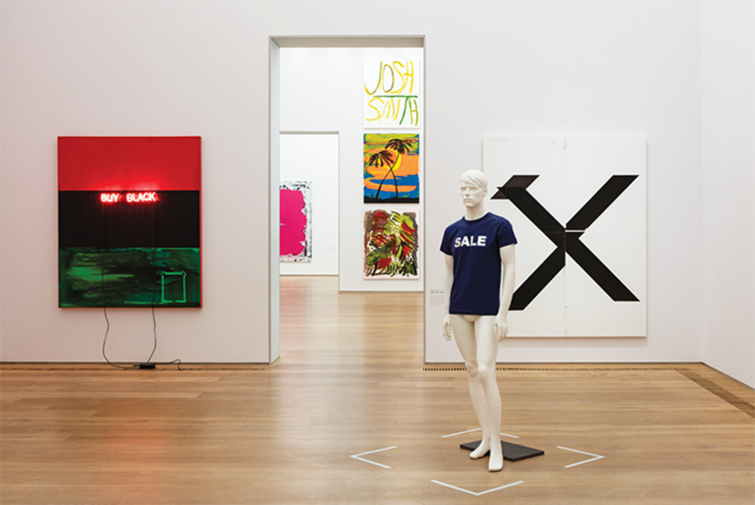 "View of ""Painting 2.0: Expression in the Information Age,"" 2015–16. Foreground, from left: Kerry James Marshall, Buy Black, 2012; Heimo Zobernig, Untitled, 2011; Wade Guyton, Untitled, 2007. Background, from left: Christopher Wool, Kidnapped, 1994; works by Josh Smith, 2007–13. Photo: Stephan Wyckoff."